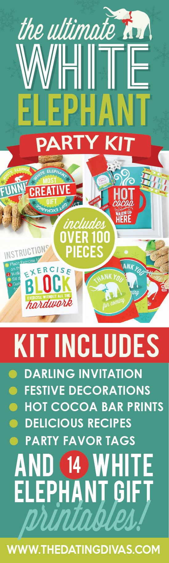 Plan the ultimate white elephant party with these darling printables-- the DIY gift ideas are hilarious! www.TheDatingDivas.com
