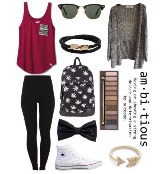 Back to School Outfit. Change the leggings to jeans for me because in my opinion leggings do not count as pants..... as well as the backpack