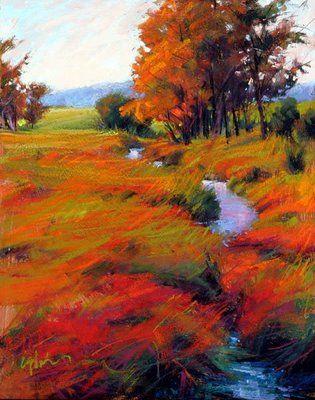 Susan Ogilvie autumn landscape, pastel. More
