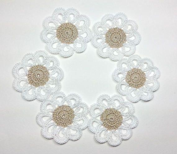 Mini crochet doilies ecrù Set of 6 crochet di Handmadesfiopi