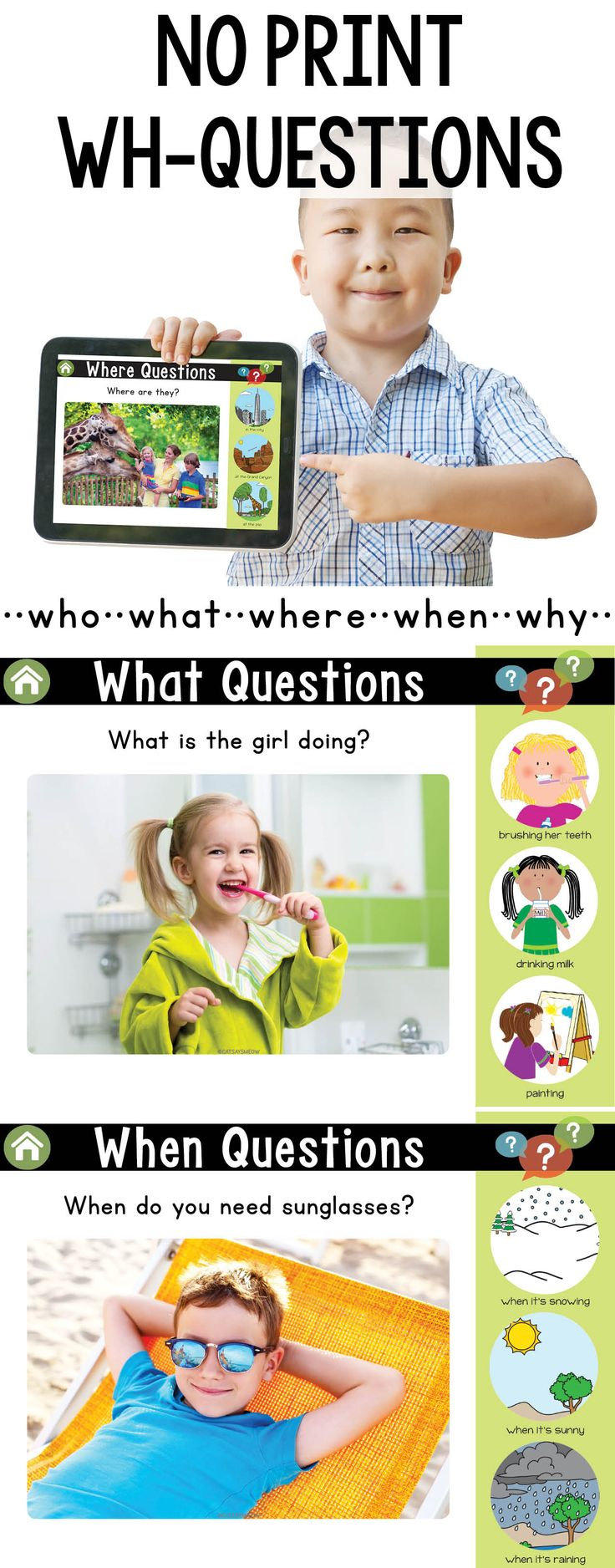 No Print Wh-Questions with Answer Choices (plus printable cards) – Connie Bentley