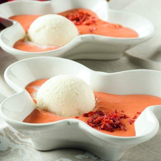 Receta Salmorejo con helado de mascarpone e Idiazábal y crujiente de jamón ibérico por Thermomix