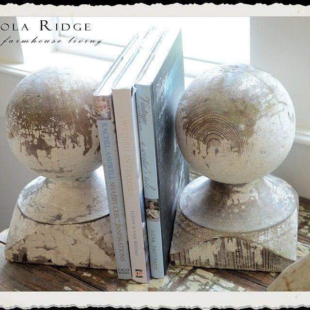 Chippy newel post caps become book ends. :-) #RepurposingLove #FarmhouseDecorating #ArchitecturalSalvage #CupolaRidge