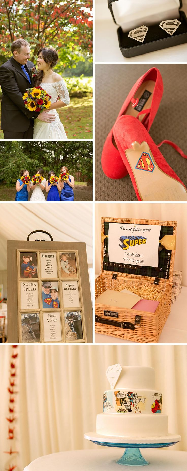 Alice and Rick managed to tastefully include their love of Superman in their wedding day, with lots of red, yellow and blue touches and a super-cool (excuse the pun) wedding cake. We especially love Alice's bouquet and her shoes - they're both perfect nods to the theme. If you're looking for more ideas, don't miss our guide to having a superhero themed wedding. Photography by Samantha Davis Photography