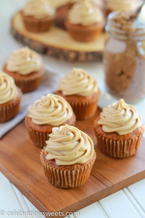 An easy recipe for carrot cake cupcakes topped with a rich, brown sugar cream cheese frosting.