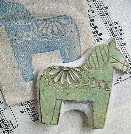 dala horse stamp / talktothesun via etsy ... love dala horses.