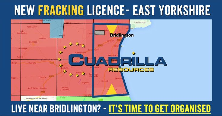 TOWNS & VILLAGES IN THE LICENCE AREA: East Yorkshire towns in Cuadrilla's new fracking licence: Sowerby, Boynton, Bridlington, Carnaby, Haisthorpe, Thorneholm Wilsthorpe, Burton Agnes, Fraisthorpe, Barmston, Great Kelk, Gembling, Lissett, Foston on the Wolds, Gembling, Dreehoe, Skipsea, Beeford, North Frodingham, [...]