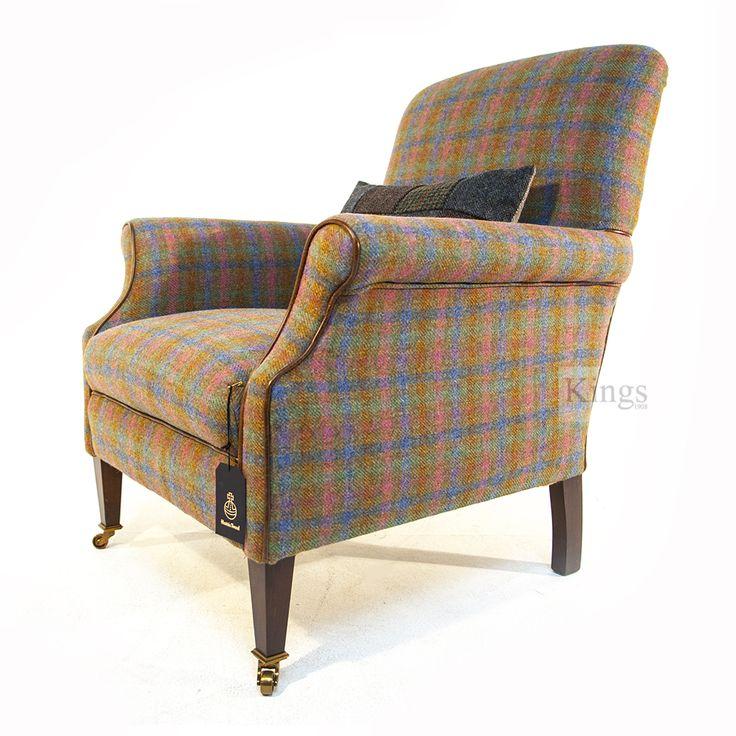 Tetrad Harris Tweed Spring Check with Golden Globe. http://www.kingsinteriors.co.uk/brands/tetrad-harris-tweed/tetrad-harris-tweed-bowmore-chair