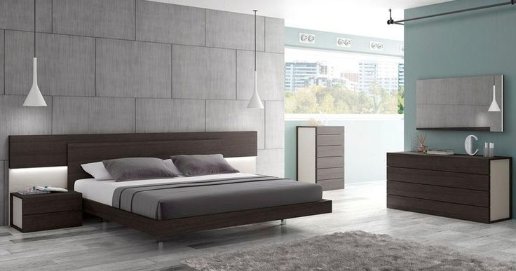 Portugal made wenge bedroom room set with lighting in headboard. This premium bedroom is a pinnacle of craftsmanship. This elegant bedroom features an extraordinary design that harmonically mixes a wenge wood veneer against a contrast of light grey lacquer. This combination looks gorgeous when illum...