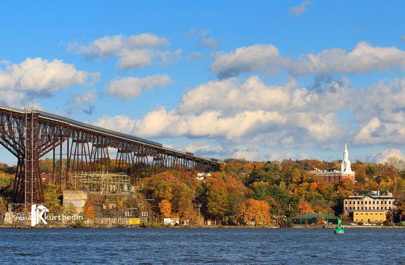 Blue Sky on the Hudson River with Walkway Over the Hudson and Poughkeepsie, NY Photograph by BR20ten on Etsy #WalkwayOvertheHudson