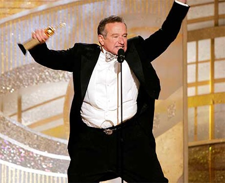 """2/08/2014 11:14pm Academy Awards Ceremony 1998: Robin Williams, Best Supporting Actor Oscar for """"Good Will Hunting"""" 1997."""