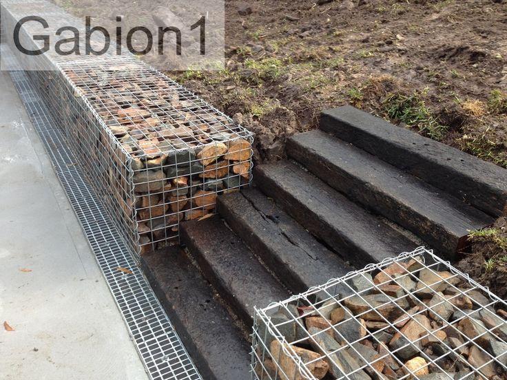 gabion retaining wall with railway sleeper steps http://www.gabion1.com.au