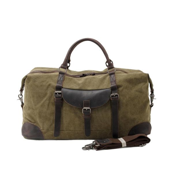 Large Canvas Travel Duffle Bag With Leather Handle In Green