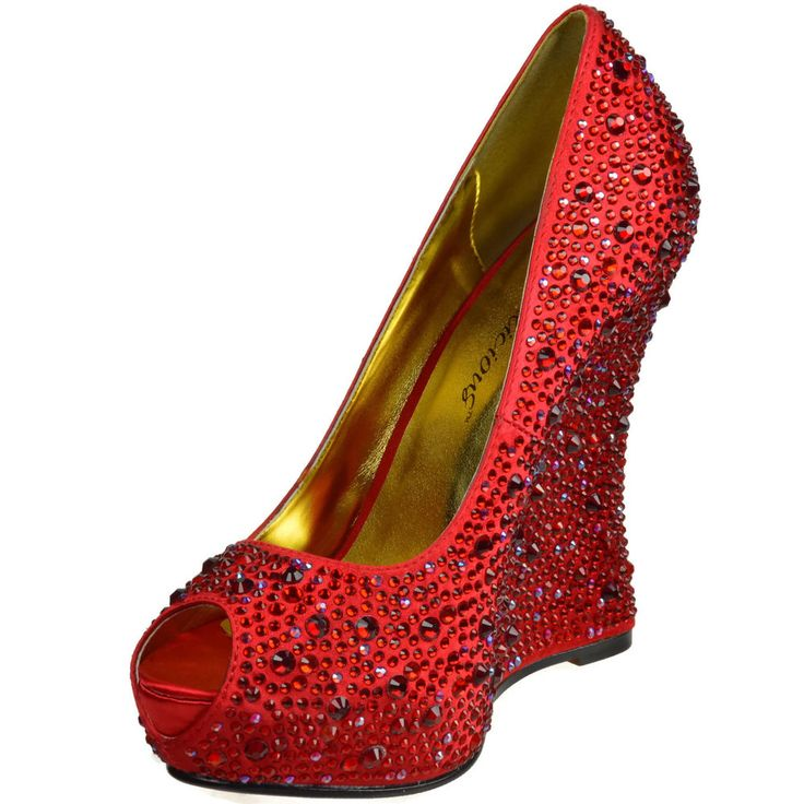 FABULICIOUS Open Toe Wedge Hidden Platform Satin Pump Rhinestone ISABELLE-18 Red   Clothing, Shoes & Accessories, Women's Shoes, Heels   eBay!