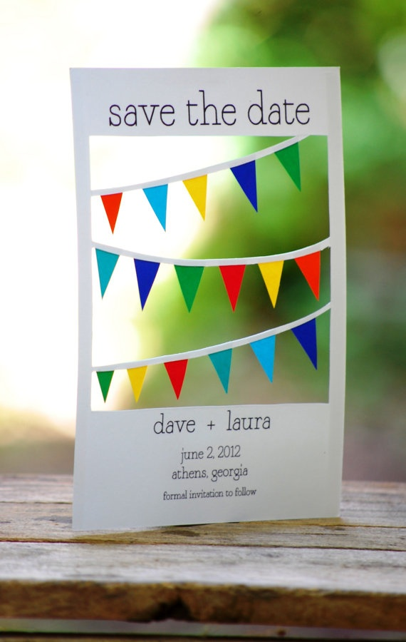 Sample Hand Cut Bunting Save the Date by PandPPaperworks on Etsy, $5.00