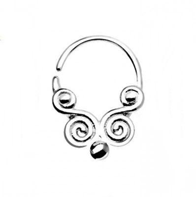 "Septum Nose Hinged Swirls 18 Gauge 5/16"" Steel Body Jewelry"