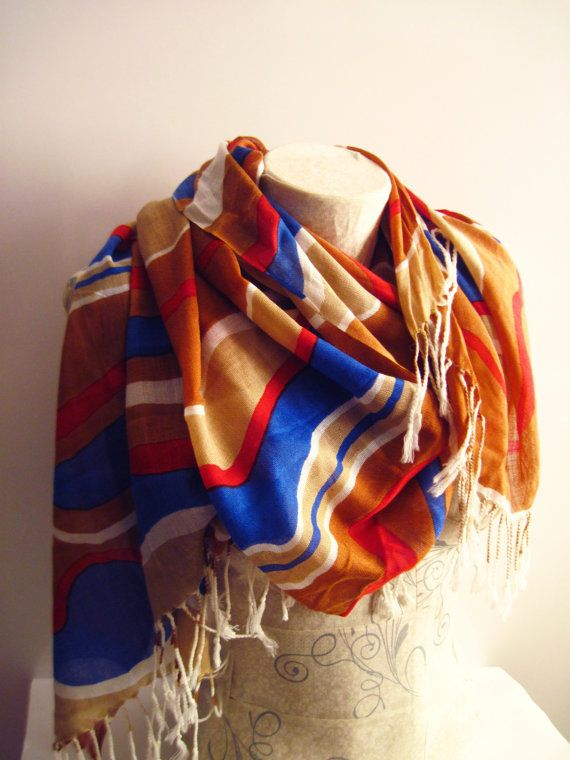RedBlue and Cream Pashmina Scarf  Colorful by dreamexpress on Etsy