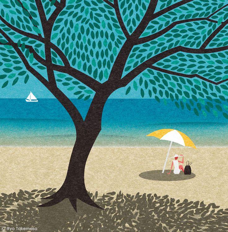 illustrazioni di paesaggio giapponese ryo takemasa