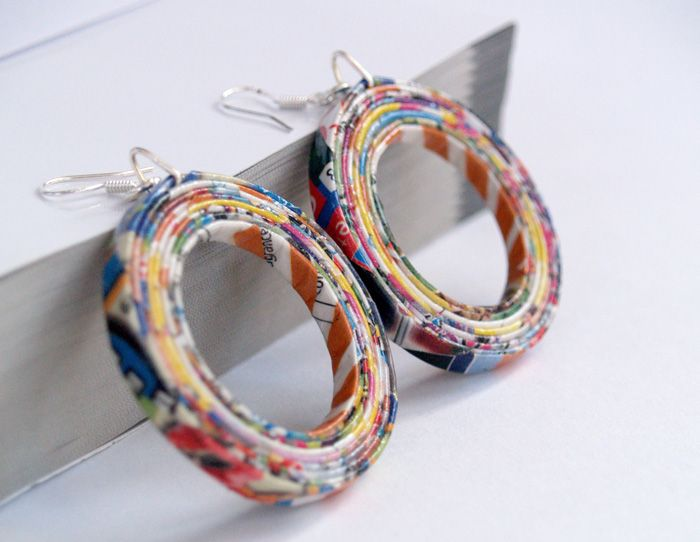 Upcycled paper earrings                                                                                                                                                                                 More