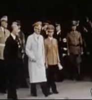 """Hitler and Goebbels in Munich in 1939.  Hitler's secretary, Traudl Junge, said in 2002, """"Hitler esteemed Goebbels very much as Propaganda Minister and he was incredibly efficient. But I never detected any hint of friendship between them or even of friendliness in their relationship."""" (via putschgirl)"""