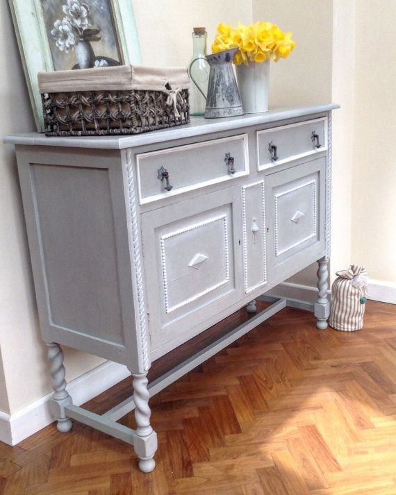 SOLD-EDWARDIAN OAK Sideboard Hand Painted in Annie Sloan Paris Grey and Old White wax