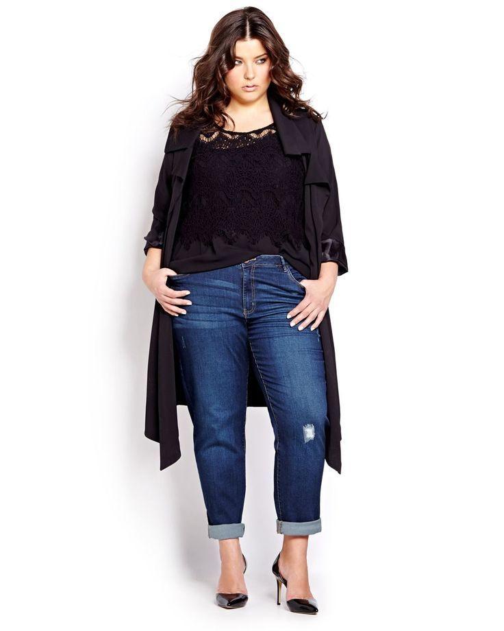 Addition Elle   Moto Boyfriend Jeans