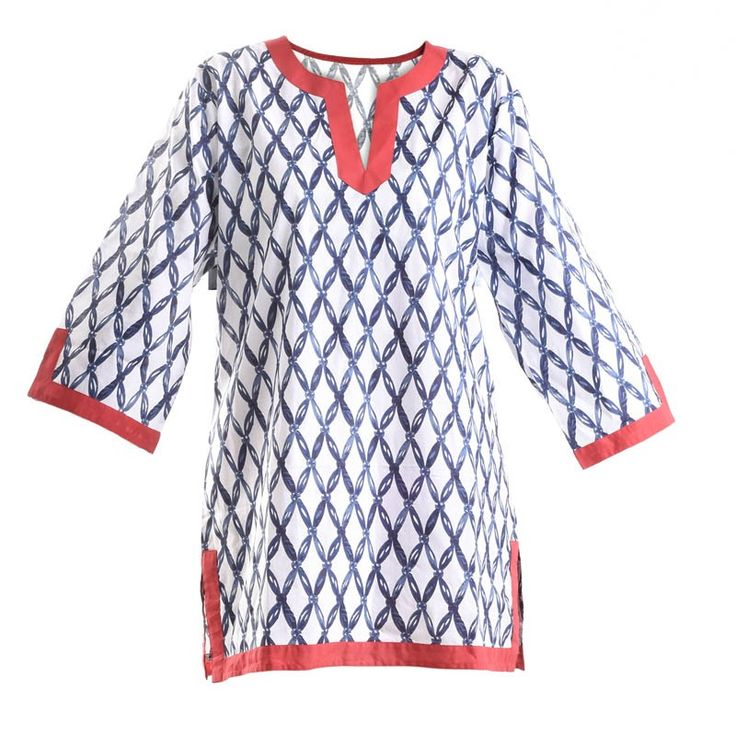 KURTA IN WHITE-BLUE COLOR - Blouses-Shirts - Clothes