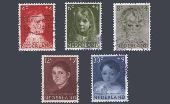 """De kinderpostzegels uit 1957 met de voorstelling """"Meisjesportretten naar schilderijen uit de 19de eeuw"""". Behalve de 8+4c zegel, die is moderner en van Jan Sluyters, die toen net overleden was. Ontwerp: S.L. Hartz"""