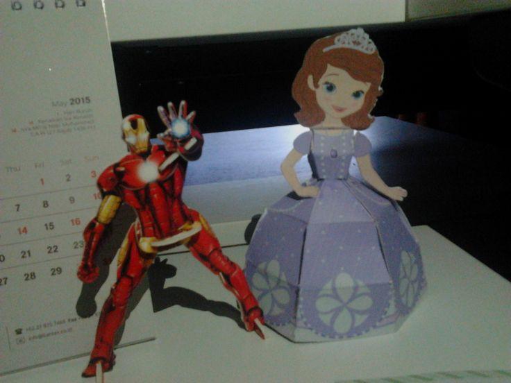 Iron man and princess Sofia.. Paper made..