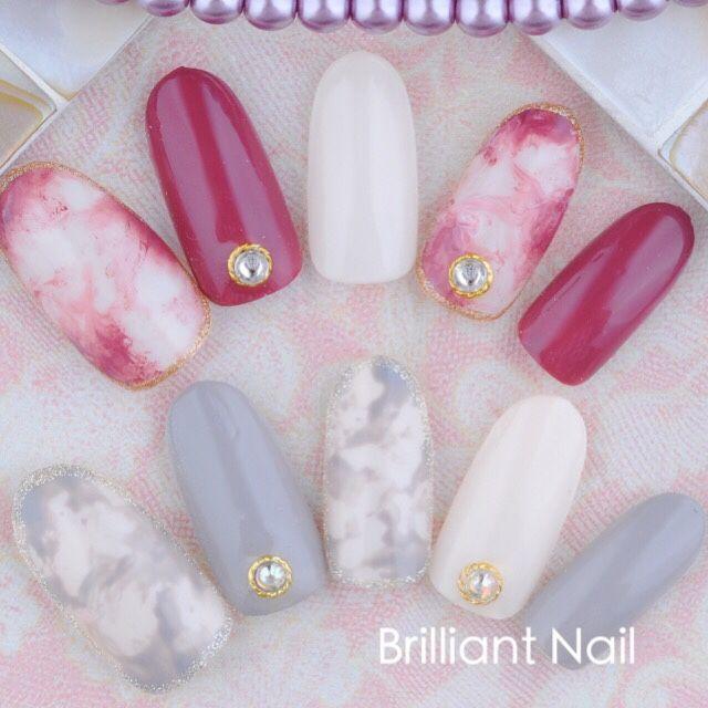 pink grey white nail art