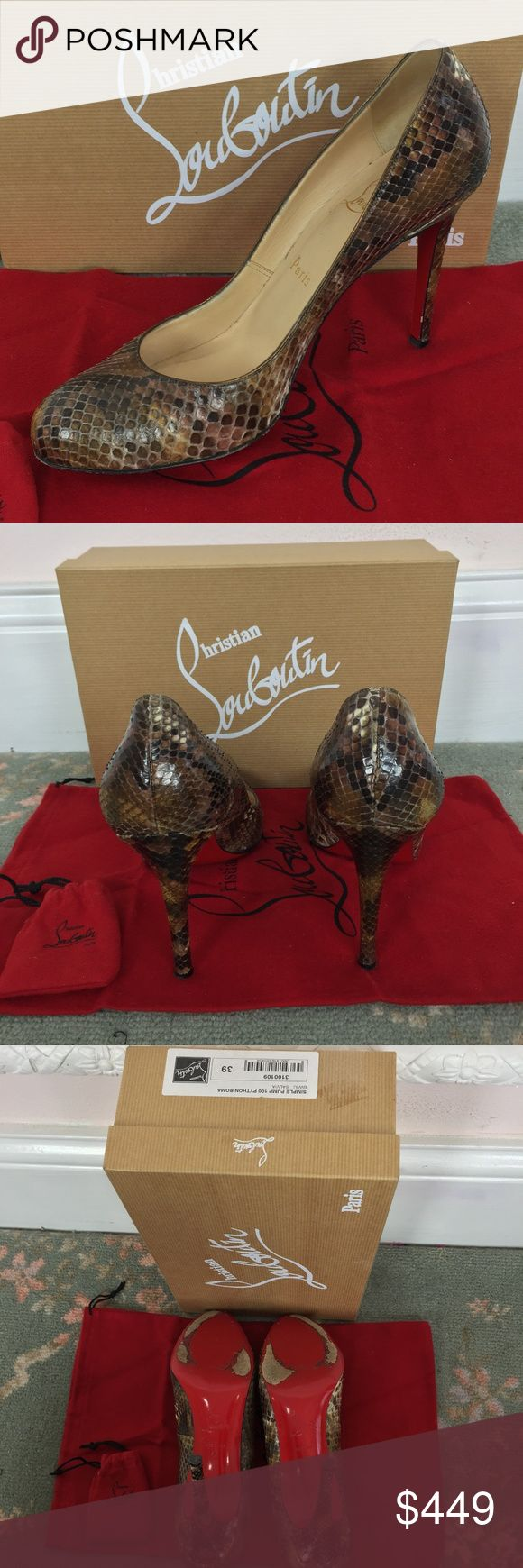 Christian Louboutin Simple Pump 100 Python Roma 39 I purchased these heels directly from Saks 5th so I guarantee authenticity.  Comes with original box ,dustbag, & spare heel tips  Fit is similar to all Louboutins- I normally wear a size 8 or 8.5 in other brands but purchased 9 (39) in these shoes because Loubous run small and they fit me well in this size. Gently worn-EXCELLENT condition- red bottoms minimally scuffed  3 in. heel -All pics are the actual shoes I'm selling Open to REASONABLE…