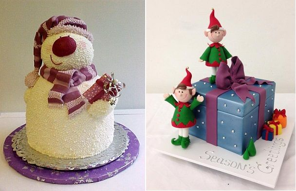 Snowman Cake by Gina's Cakes via Deviant Art left, elf cake by Handi's Cakes right.