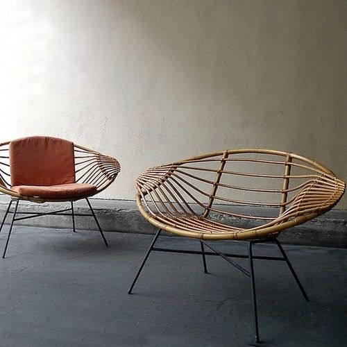 Janine Abraham and Dirk Jan Rol; Rattan and Painted Metal 'Lemon' Chairs for Salon des Art Menagers, 1957.