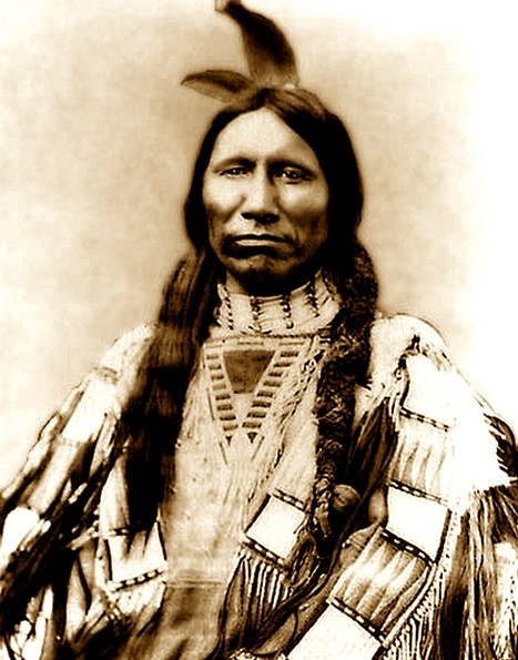 Oglala Sioux Chief American Horse (the older), 1830-1876. After being ordered to go to their advised reservations, Siting Bull refused to leave his old hunting grounds. American Horse and Crazy Horse with their warriors joined him. Capt. Anson Mills was attempting to reach the Black Hills to find supplies when he stumbled onto the village of American Horse. Mill's 3rd Cavalry (150 soldiers) attacked the next morning surprising the village. The village was destroyed and American Horse killed.