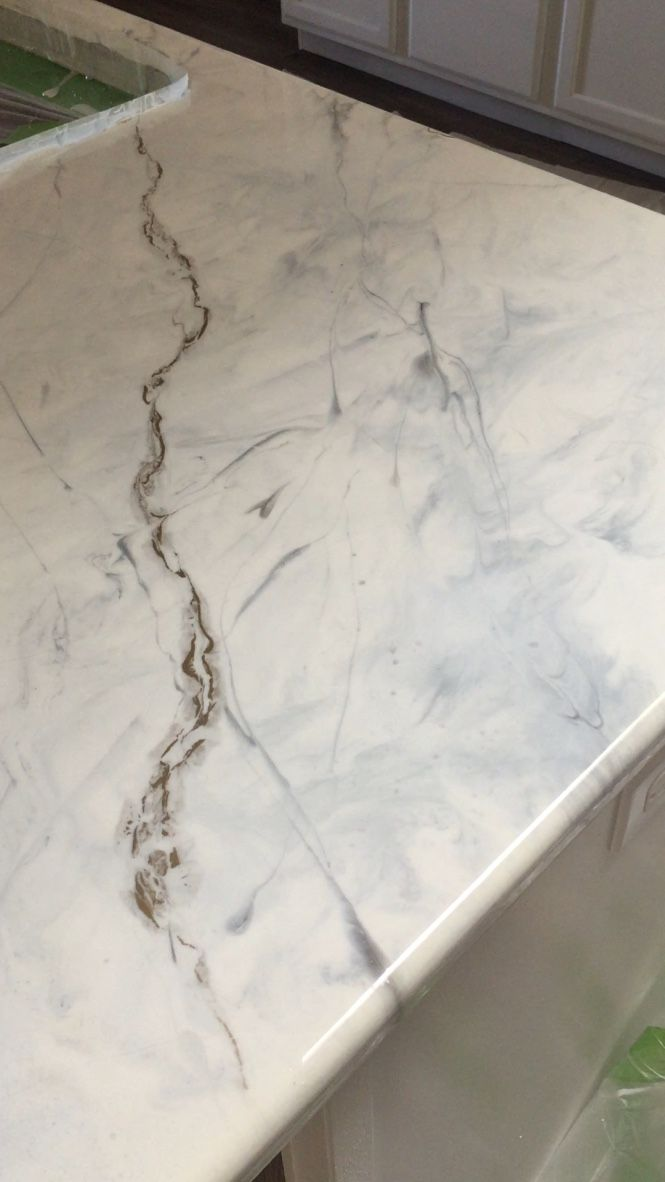 Epoxy Countertop Island White Marble With Gold Veins And Gray