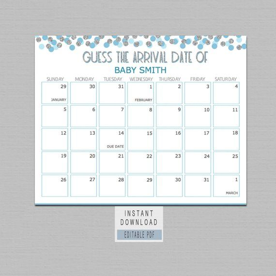 Elephant Baby Shower Guess Baby/'s Birthday  Baby Shower Guess Baby/'s Due Date Game  Gender Neutral  Boy Girl Shower  INSTANT DOWNLOAD