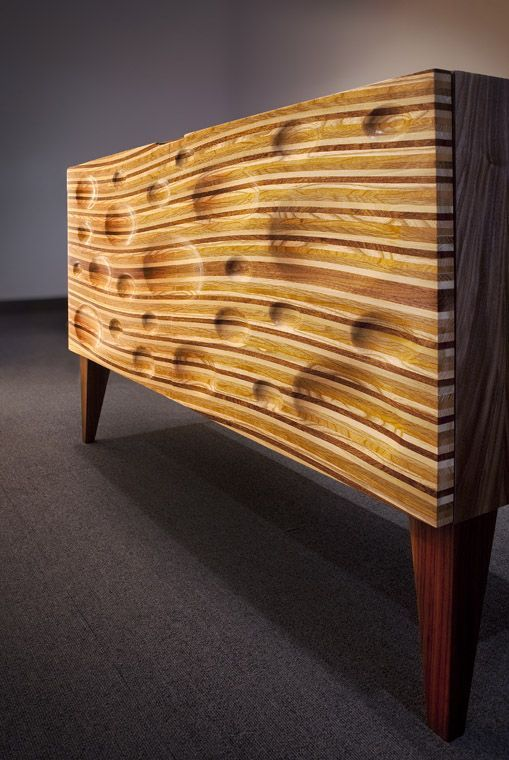 Multi wood veneers & multi textural surface sideboard