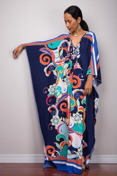 32be89c54c784 Boho Kaftan Frock Dress, Loose fit maxi dress, Floral kaftan in 2019 ...