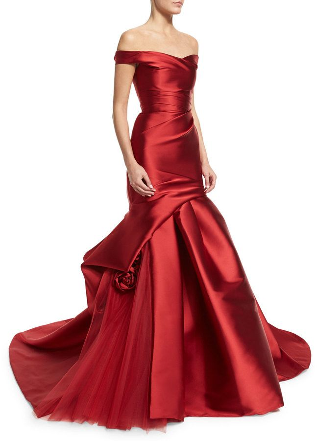 Monique Lhuillier Off-The-Shoulder Draped Trumpet Gown, Deep Red                                                                                                                                                                                 More