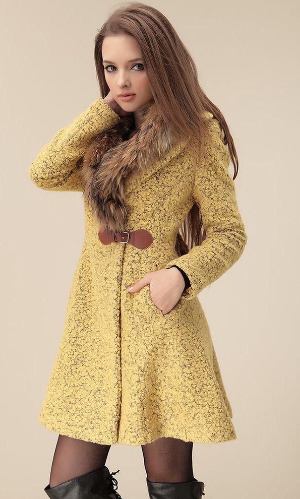 fur collar wool coat winter coat