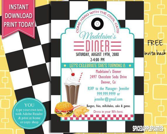 Retro Diner Birthday Invitation 50s Retro Diner Invite 50s