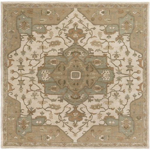 9 75 X 9 75 Elegant Caesar Champagne Beige And Sage Green Square Hand Tufted Wool Area Throw Rug Area Rugs Traditional Area Rugs Wool Area Rugs