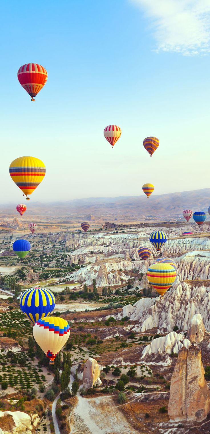 Hot air balloon flying over Cappadocia, Turkey.