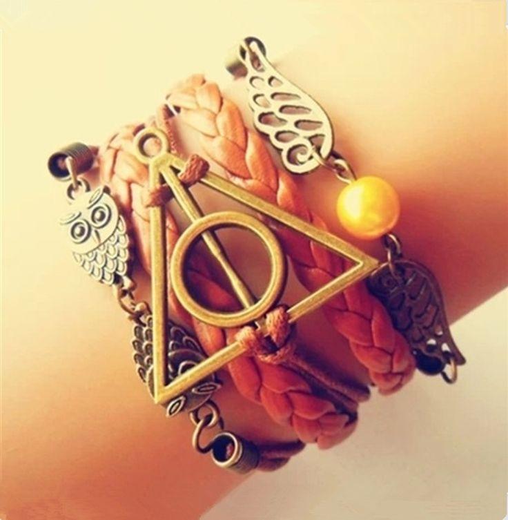 Antique Bronze magiczne hallows harry potter bransoletka, harry potter bransoletka, sowa skrzydło bransoletka