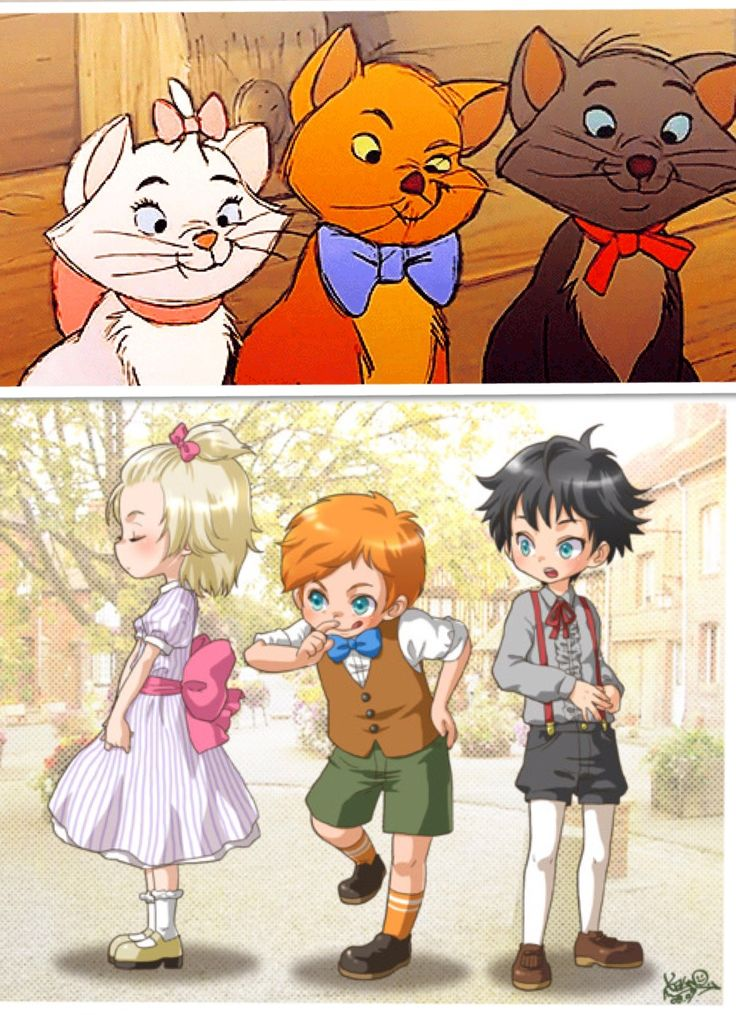 Disney's The Aristocats - Marie, Toulouse, and Berlioz as humans - and in anime form as well! The bottom picture is by kalno on @deviantART: http://kalno.deviantart.com/art/the-aristocats-kids-103084466
