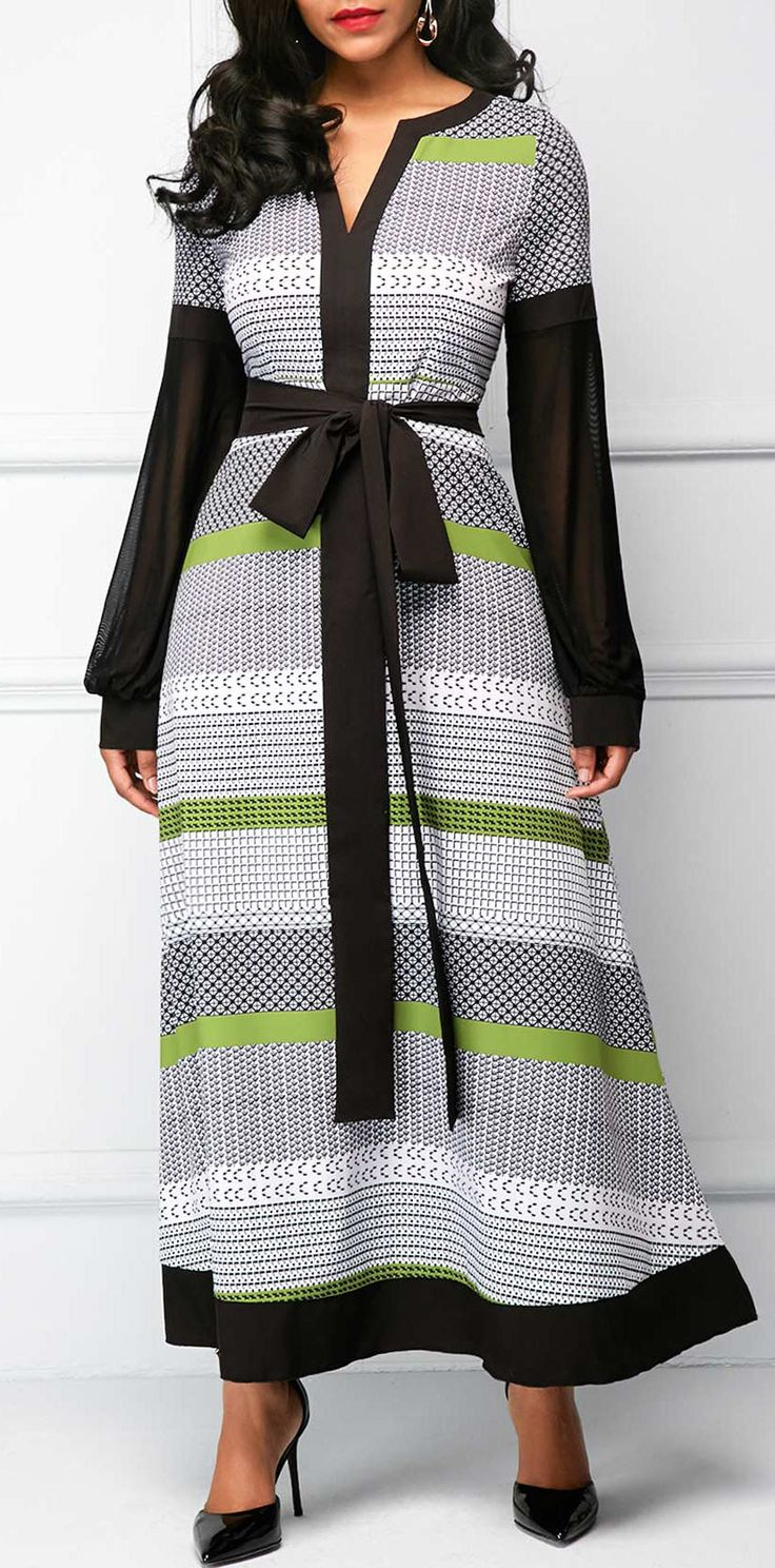 Belted Split Neck Long Sleeve Maxi Dress