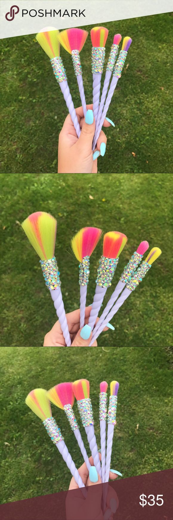 9 Pc Crystallized Unicorn Rainbow Makeup Brush Set Set of 5 Vegan, Rainbow, Unicorn Makeup Brushes. Each brush is hand set with Swarovski Crystal elements - they are sealed on with industrial strength adhesive and will not tarnish or fall off. Super cute, one of a kind. Only one set available. Tags: Morphe, Ulta, Tarte, Sigma, Mac, Jeffree Star, Abh, Fan Brush, Makeup Geek Sephora Makeup Brushes & Tools