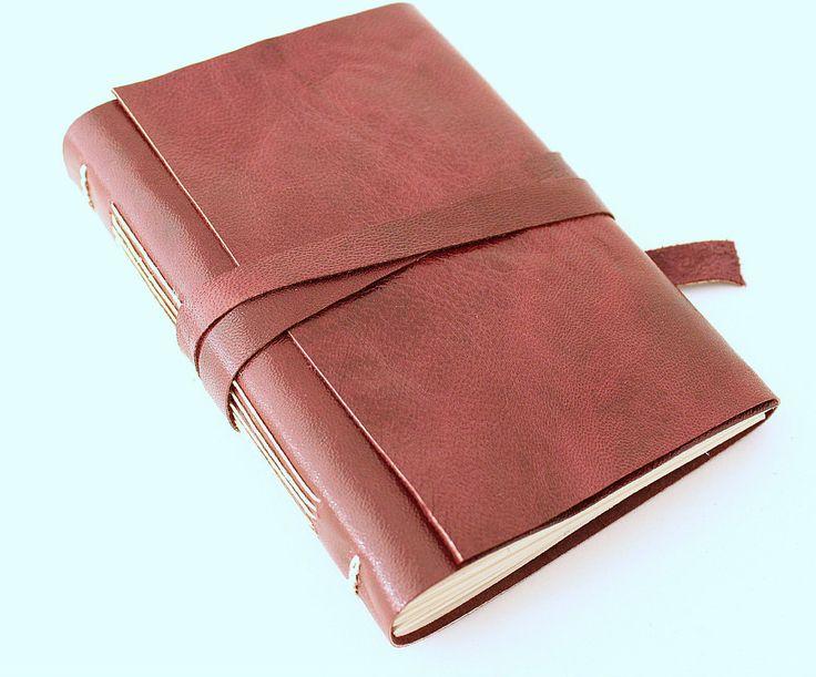 Burgundy Leather Journal by GatzBcn on Etsy