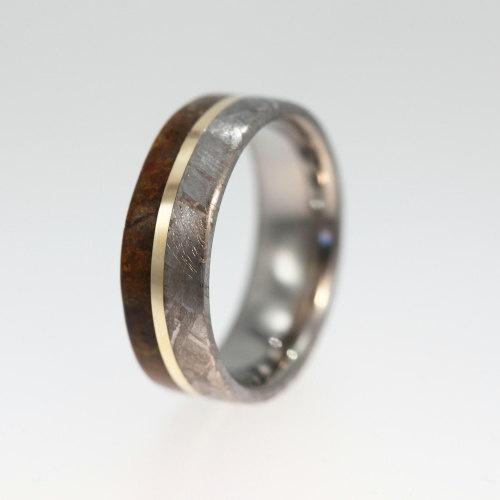 meteorite ring dinosaur bone wedding band with 14k yellow