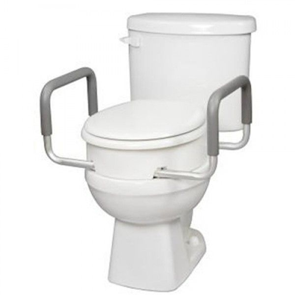 Carex Elongated Raised Toilet Seat With Handles Toilet